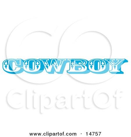 Blue Western Cowboy Restroom Sign Clipart Illustration
