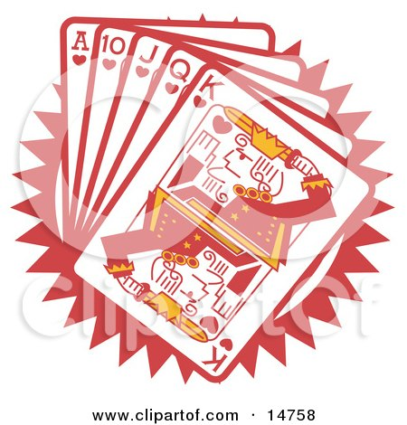 Hand Of Red Playing Cards Including The Ace Of Hearts, 10 Of Hearts, Jack Of Hearts, Queen Of Hearts And King Of Hearts Clipart Illustration by Andy Nortnik