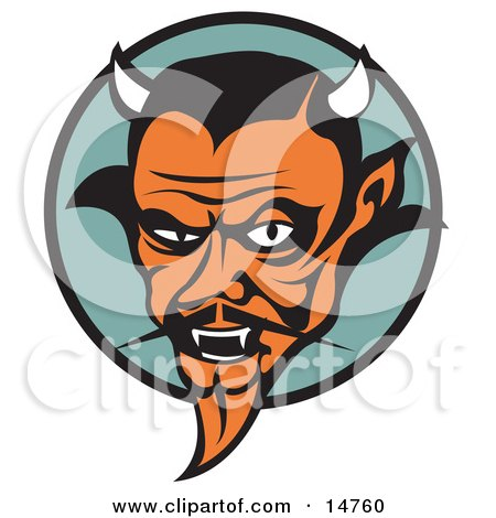 Mean Old Male Devil With Fangs and Horns Clipart Illustration by Andy Nortnik