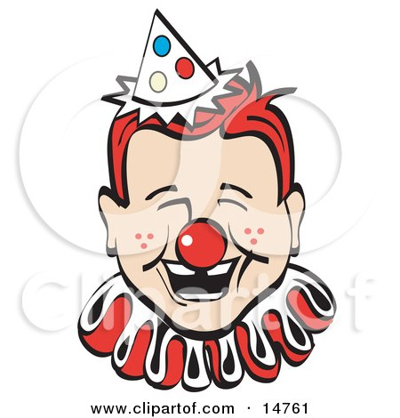 Jolly Freckled Boy With A Red Clown Nose, Party Hat And Collar, Laughing Clipart Illustration by Andy Nortnik