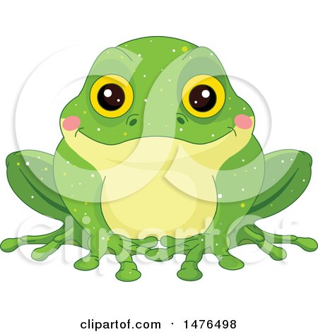 Clipart of an Dorable Green Frog with Blushing Cheeks - Royalty Free Vector Illustration by Pushkin