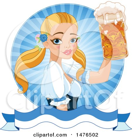Clipart of a Blond Oktobefest Beer Maiden Holding up a Mug over a Banner - Royalty Free Vector Illustration by Pushkin