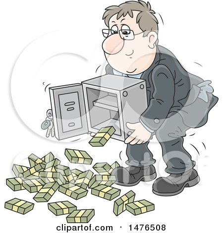 Clipart of a Caucasian Business Man Lifting a Safe, Bundles of Cash Falling out - Royalty Free Vector Illustration by Alex Bannykh