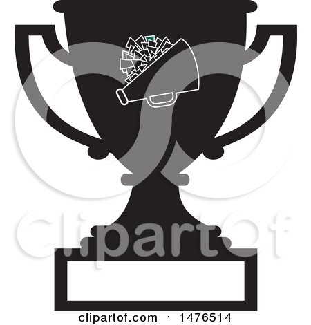 Clipart of a Silhouetted Sports Trophy Cup with a Cone and Cheerleader Pom Pom and Blank Panel - Royalty Free Vector Illustration by Johnny Sajem