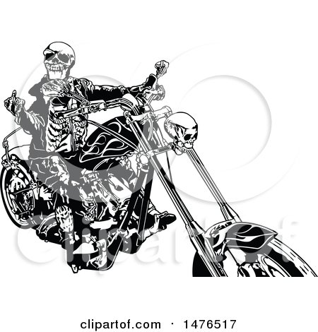 Clipart of a Black and White Skeleton Biker Holding up a Middle Finger on a Chopper - Royalty Free Vector Illustration by dero