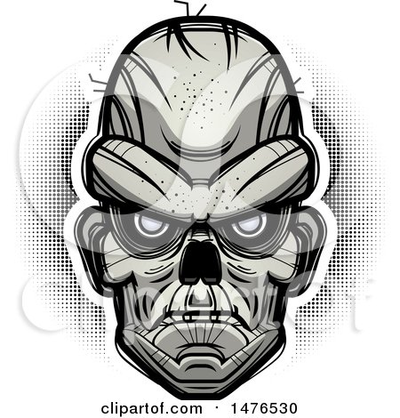 Clipart of a Zombie Head over Halftone - Royalty Free Vector Illustration by Cory Thoman