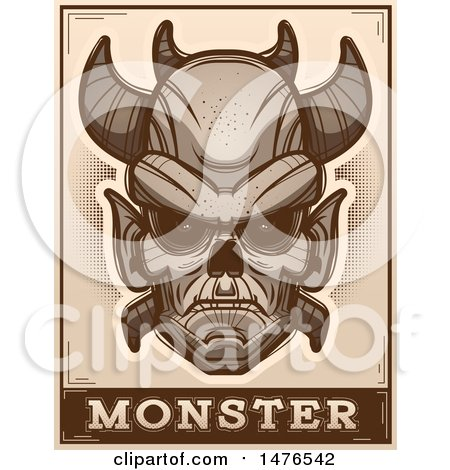 Clipart of a Demon Head over a Monster Banner, in Sepia - Royalty Free Vector Illustration by Cory Thoman