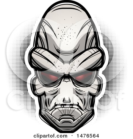 Clipart of an Alien Head over Halftone - Royalty Free Vector Illustration by Cory Thoman