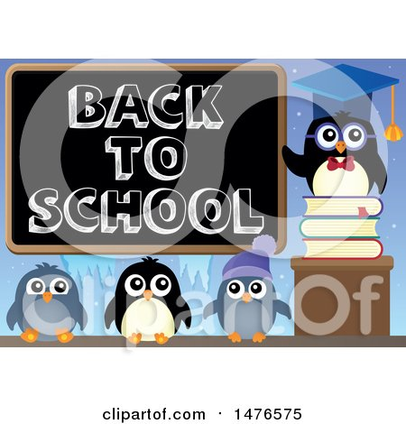 Clipart of a Professor Penguin with Students and a Back to School Blackboard - Royalty Free Vector Illustration by visekart