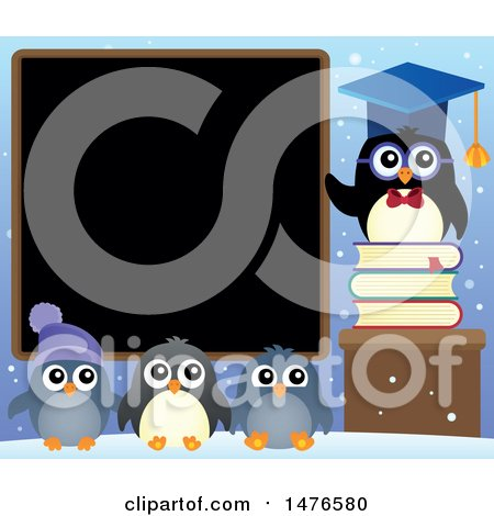 Clipart of a Professor Penguin with Students - Royalty Free Vector Illustration by visekart