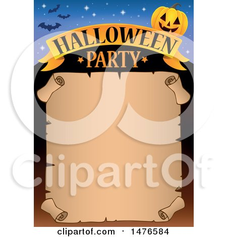 Clipart of a Halloween Party Invitation Border - Royalty Free Vector Illustration by visekart