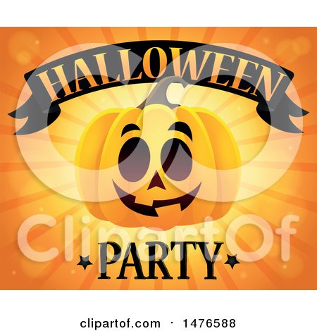 Clipart of a Jackolantern Pumpkin over Rays, with Halloween Party Text - Royalty Free Vector Illustration by visekart