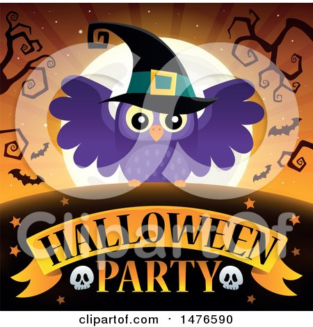 Clipart of a Halloween Party Design with a Witch Owl - Royalty Free Vector Illustration by visekart
