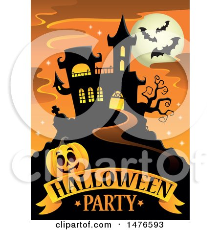 Clipart of a Halloween Party Design with a Haunted House and Jackolantern Pumpkin - Royalty Free Vector Illustration by visekart