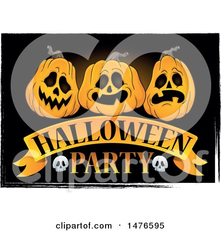 Clipart of a Halloween Party Design with Jackolantern Pumpkins - Royalty Free Vector Illustration by visekart