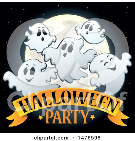 Clipart of a Halloween Party Design with Ghosts - Royalty Free Vector Illustration by visekart