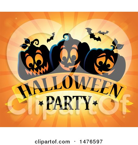 Clipart of a Halloween Party Design with Jackolantern Pumpkins and Bats - Royalty Free Vector Illustration by visekart