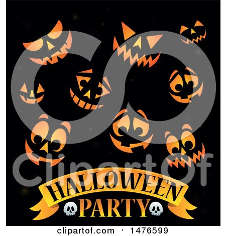 Clipart of a Halloween Party Design with Jackolantern Pumpkin Faces - Royalty Free Vector Illustration by visekart