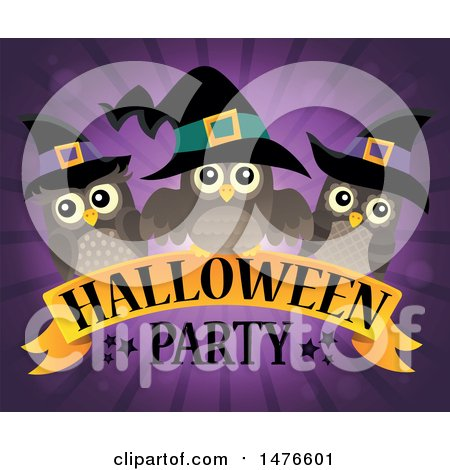 Clipart of a Halloween Party Design with Witch Owls - Royalty Free Vector Illustration by visekart