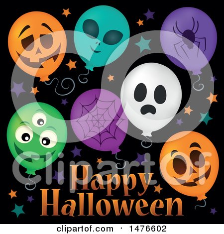 Clipart of a Happy Halloween Greeting with Party Balloons - Royalty Free Vector Illustration by visekart