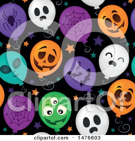 Clipart of a Seamless Pattern of Halloween Party Balloons - Royalty Free Vector Illustration by visekart