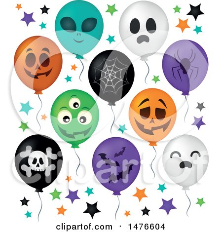 Clipart of a Halloween Party Balloons - Royalty Free Vector Illustration by visekart