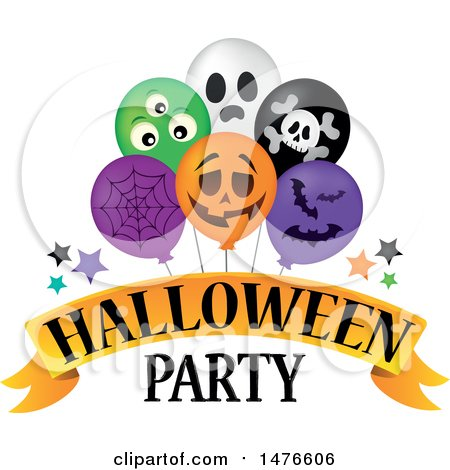 Clipart of a Halloween Party Design with Balloons - Royalty Free Vector Illustration by visekart
