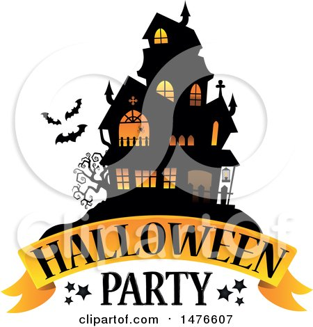 Clipart of a Halloween Party Design with a Haunted House - Royalty Free Vector Illustration by visekart