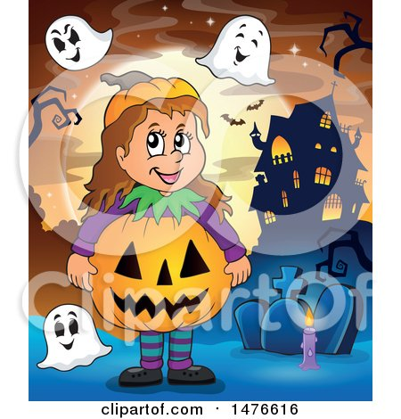 Clipart of a Girl in a Jackolantern Costume, with Ghosts in a Cemetery - Royalty Free Vector Illustration by visekart