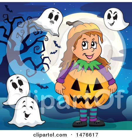 Clipart of a Girl in a Jackolantern Costume, with Ghosts - Royalty Free Vector Illustration by visekart