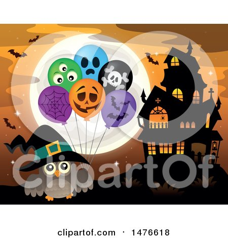 Clipart of a Witch Owl with Halloween Balloons by a Haunted House - Royalty Free Vector Illustration by visekart