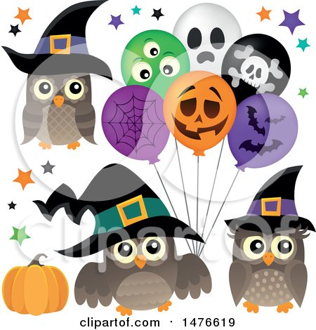 Clipart of Witch Owls with Halloween Balloons - Royalty Free Vector Illustration by visekart