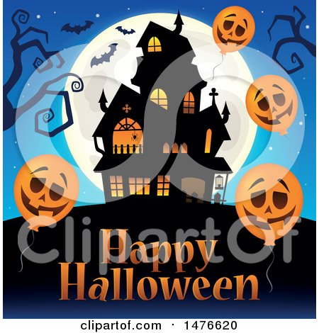 Clipart of a Haunted House with Happy Halloween Text and Jackolantern Balloons - Royalty Free Vector Illustration by visekart