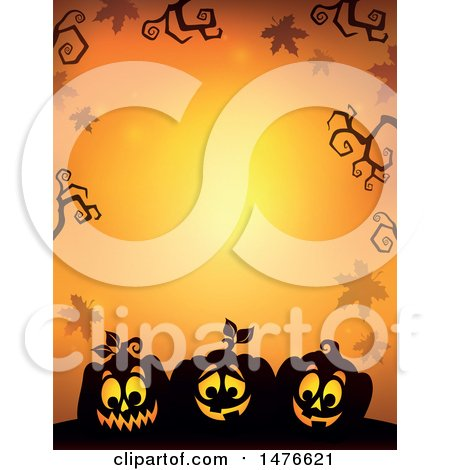 Clipart of a Halloween Border with Jackolanterns and Bare Branches on Orange - Royalty Free Vector Illustration by visekart