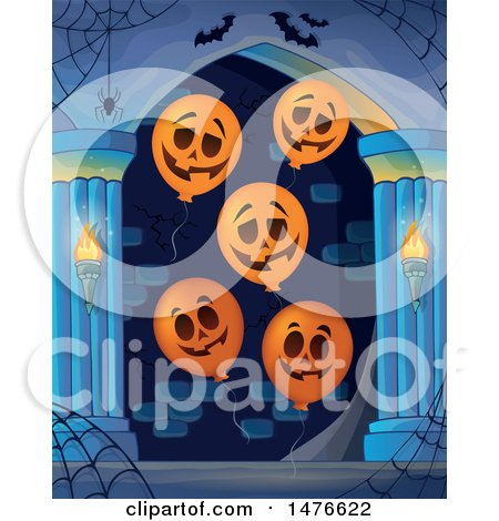 Clipart of a Haunted Hallway with Jackolantern Balloons - Royalty Free Vector Illustration by visekart