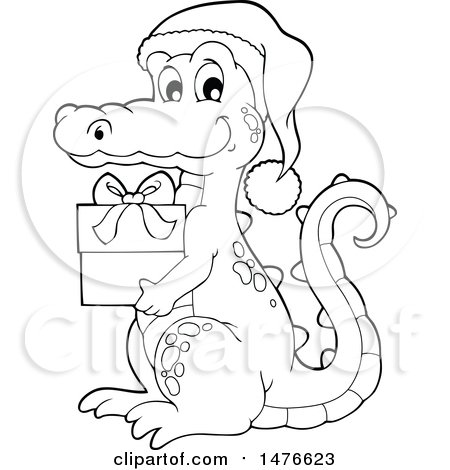 Clipart of a Christmas Crocodile Holding a Gift Black and White - Royalty Free Vector Illustration by visekart