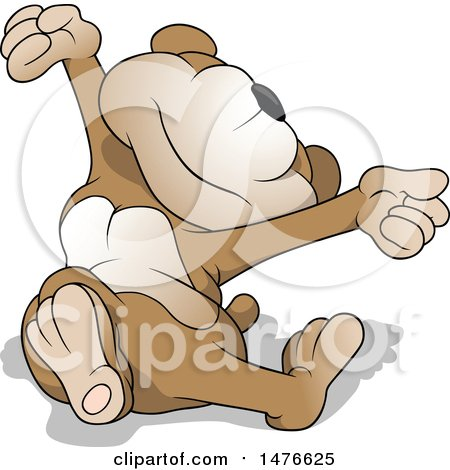 Clipart of a Sleepy Bear Stretching - Royalty Free Vector Illustration by dero