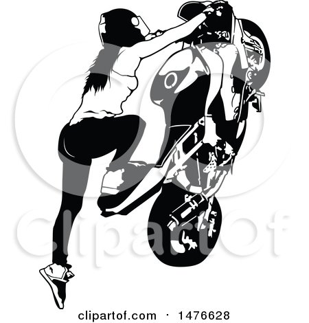 Clipart of a Black and White Female Biker Doing a Stunt - Royalty Free Vector Illustration by dero