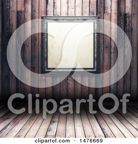 Clipart of a 3d Blank Picture Frame with a Wooden Wall and Floor Background - Royalty Free Illustration by KJ Pargeter