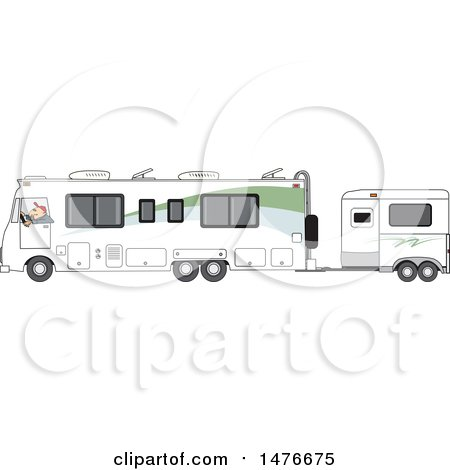 Clipart of a Cartoon White Man Driving a Motorhome with a Horse Trailer - Royalty Free Vector Illustration by djart
