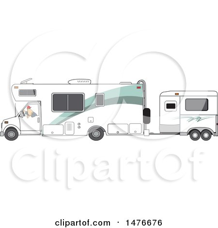 Clipart of a Cartoon White Man Backing up a Motorhome with a Horse Trailer - Royalty Free Vector Illustration by djart