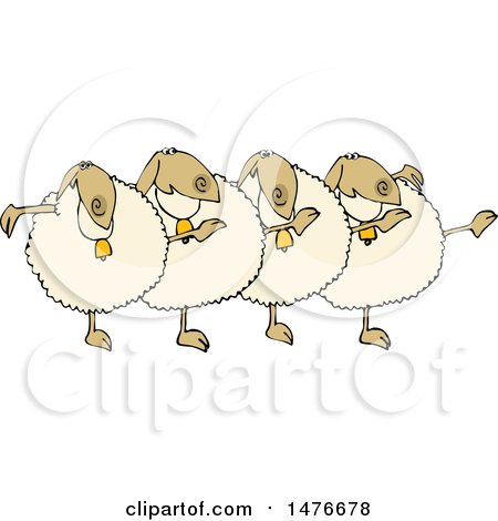 Clipart of a Chorus Line of Sheep Dancing the Can Can - Royalty Free Vector Illustration by djart