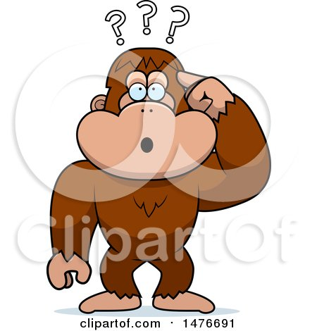 Clipart of a Confused Bigfoot Scratching His Head - Royalty Free Vector Illustration by Cory Thoman