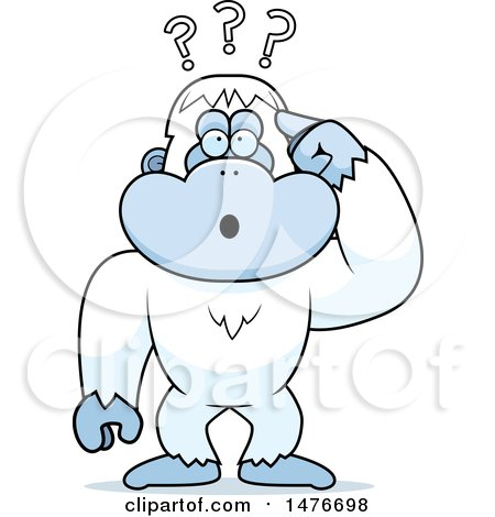 Clipart of a Confused Yeti Scratching His Head - Royalty Free Vector Illustration by Cory Thoman