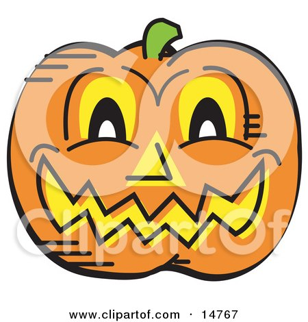 Grinning Carved Pumpkin on Halloween Clipart Illustration by Andy Nortnik