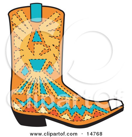 Orange Aztec Style Cowboy Boot With Blue And Yellow Accents Around A Bird Clipart Illustration by Andy Nortnik