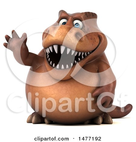 Clipart of a 3d Brown Tommy Tyrannosaurus Rex Dinosaur Mascot Waving, on a White Background - Royalty Free Illustration by Julos