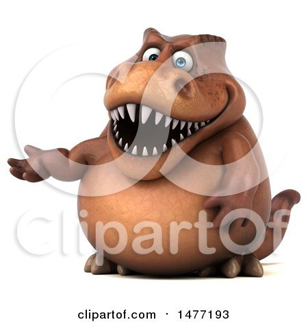 Clipart of a 3d Brown Tommy Tyrannosaurus Rex Dinosaur Mascot Presenting, on a White Background - Royalty Free Illustration by Julos