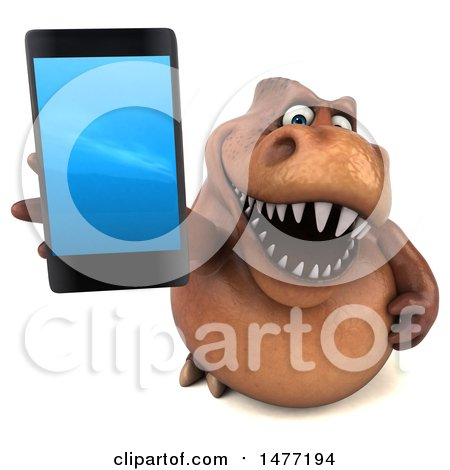 Clipart of a 3d Brown Tommy Tyrannosaurus Rex Dinosaur Mascot, on a White Background - Royalty Free Illustration by Julos