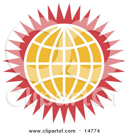 Orange Globe With White Lines and Red Spikes Clipart Illustration by Andy Nortnik